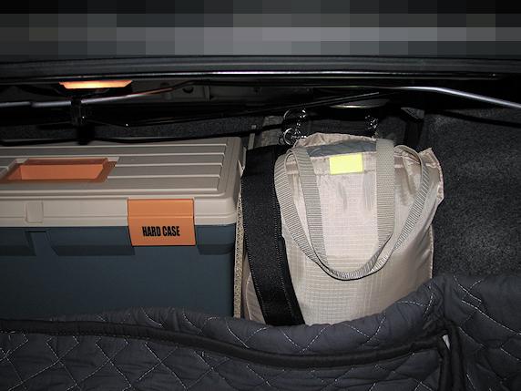 車載の非常持出袋完備