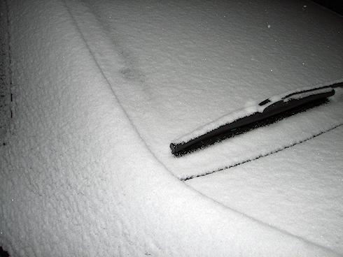 さっそく雪降り